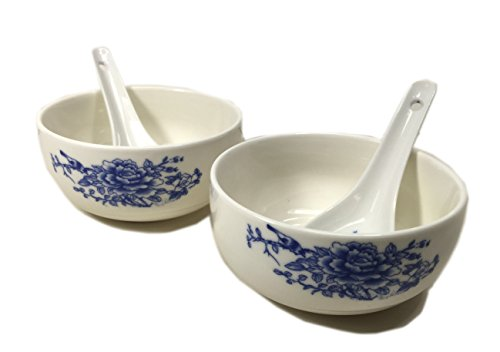Oriental Design Ceramic Chinese Flower Blue Pair Bowl & Two Spoon For Rice & Soup