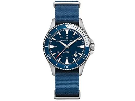 Hamilton H82345941 Khaki Navy Scuba Auto Men's Watch Blue NATO Nylon Band