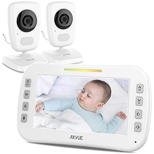 Video Baby Monitor with Two Cameras and 5' Screen by Axvue, Model E632, Cameras Include Soft Night Lights.