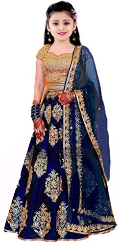 Suppar Sleave Girls' Taffeta Silk Semi-Stitched Lehenga Choli