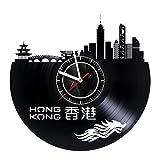 Hong Kong - Wall Clock Made of Vinyl Record - Handmade Original Art Design - Great Gifts idea for Birthday, Wedding, Anniversary, Women, Men, Friends, Girlfriend Boyfriend and Teens