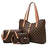 YTL Women Fashion Synthetic Leather Handbags+Shoulder Bag+Purse+Card Holder 4pcs Set Tote (large, coffee)