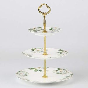 Qeeuanl Fruit Plate Three-layer Cake Rack Dry Fruit Snack Plate Beautiful, 3 Tiered Serving Stand – Serving Tray For Parties – Round Platter For Cupcakes Fruits Dessert or Tea – Cake Pop Stand And Buf 41vxVwxVQ5L