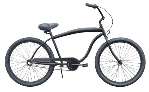"sixthreezero Men's in The Barrel 3-Speed Beach Cruiser Bicycle, Matte Black w/Black Seat/Grips, 26"" Wheels/ 18"" Frame"