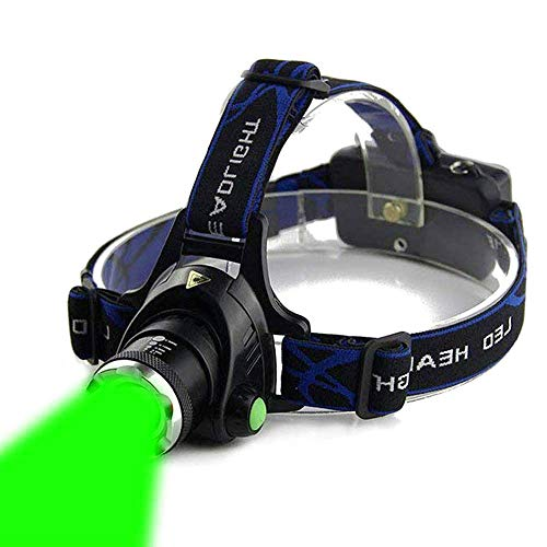 AuKvi Green Light Headlamp,3 Mode Green LED headlamp,Zoomable Green headlamp,Adjustable Focus Green LED Headlight For Astronomy, Aviation, Night Observation,etc