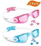 EverSport Swim Goggles, Pack of 2, Swimming Glasses for Adult Men Women Youth Kids Child, Anti-Fog, UV Protection, Shatter-Proof, Watertight (LightBlue&Pink)