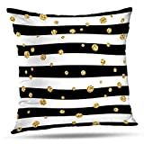 Darkchocl Decorative Throw Pillow Covers Gold Polka Dot Lines Golden Foil Confetti Black and White Stripes Square Pillowcase Cushion for Couch Sofa Bed Cotton and Polyester 18 x 18 Inch