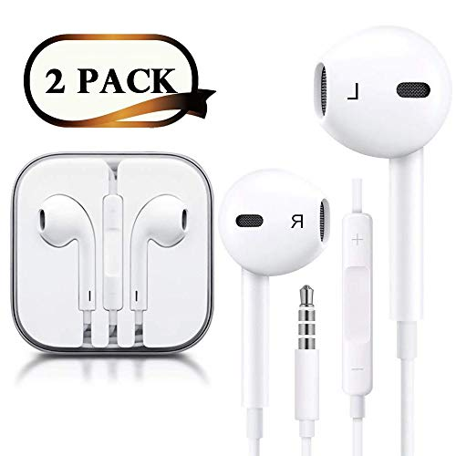 (2 Pack) Headphones/Earphones/Earbuds/Headsets 3.5mm Wired Headphones Noise Isolating Earphones with Built-in Microphone & Volume Control Compatible with iPhone 6 SE 5S 4 iPod iPad/Android MP3/4- Whit