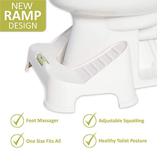 Turbo NadiaLabs Stool - Bathroom Toilet Stool - New Ramp Design + Foot Massager - Adjustable Height One Size Fits All