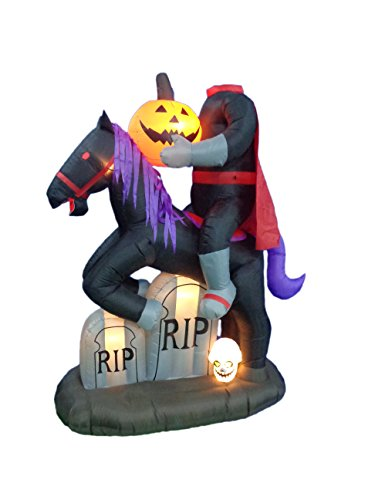7 Foot Tall Illuminated Halloween Inflatable Headless Horseman with Tombstones