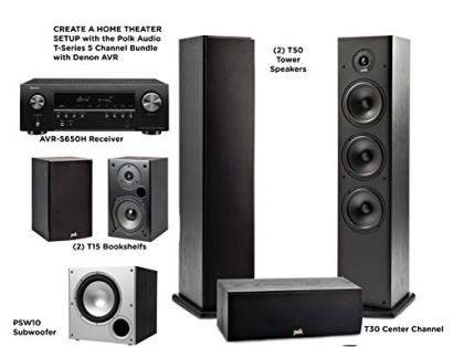Polk-Audio-51-Channel-Home-Theater-System-with-Powered-Subwoofer-Two-2-T15-Bookshelf-One-1-T30-Center-Channel-Two-2-T50-Tower-Speakers-PSW10-Sub-Alexa-HEOS