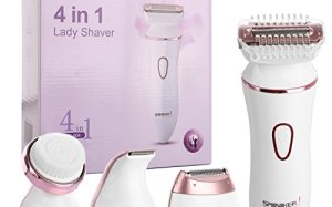 Sminiker Professional 4 in 1 Waterproof Hair Removal Face Cleansing Set 3-Blade Electric Ladies Shaver Cordless Precise Bikini Trimmer Rechargeable Hair Remover for Women Arm Underarm Bikini Line Legs