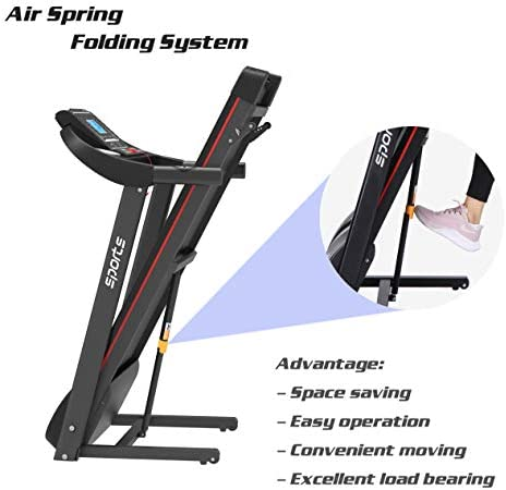 """uslion Folding Treadmill, Smart Motorized Treadmill with Manual Incline and Air Spring & MP3, Exercise Running Machine with 5"""" LCD Display for Home Use 6"""