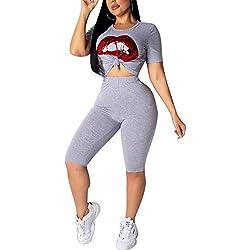 LETSVDO Sexy 2 Piece Sports Outfit Set Printed Shirt Bodycon Pants Joggers Clubwear Sportswear Set Grey