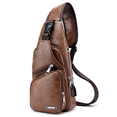 Men Shoulder Crossbody Sling Bag, PU Leather Chest Backpacks Crossbody Daypacks with USB Charging Port for Outdoor Activities (Light Brown) 4 Fashion Online Shop gifts for her gifts for him womens full figure