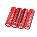 Fan-Ling 4pcs Li-ion Battery 18650, 4000AMH Service Capacity,3.7V Battery Voltage Cylindrical Lithium-ion Rechargeable Battery Batteries,Redcolor,for LED Flashlight