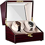 CHIYODA Automatic Double Watch Winder with Two Quiet Mabuchi Motors, LCD Touch Control