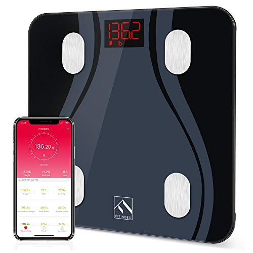 FITINDEX Smart Body Fat Scale BMI Scale Bathroom Digital Weight Wireless Scale with Body Composition Monitor Analyzer Function, 13 Essential Body Composition Metrics with Smartphone App - Black