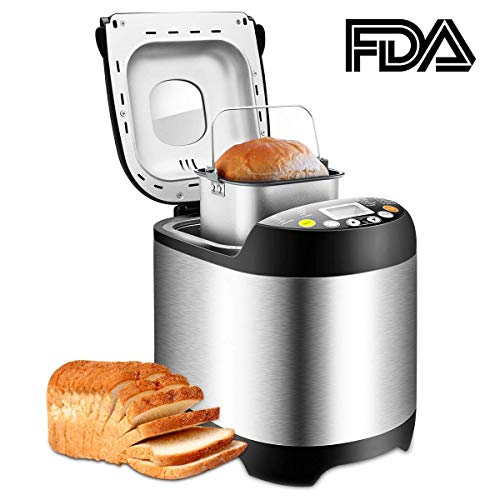 CUSIBOX Bread Machine19 Automatic Programs, Programmable Breadmaker Machine with 3 Crust Color, 15 Hours Delay Time and LCD Display-Stainless, 2LB, Black
