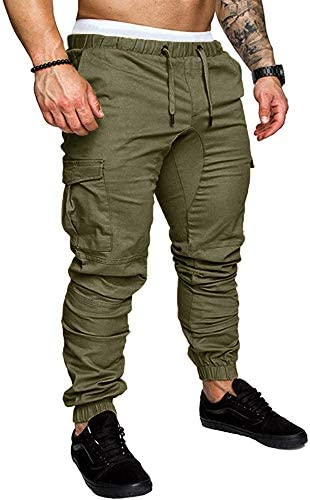 Karlywindow Mens Joggers Sweatpants Stretch Casual Cotton Cargo Pants Workout Sports Track Pants Long Trousers 1