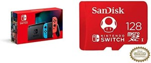 Nintendo Switch with Neon Blue and Neon Red Joy‑Con – HAC-001(-01) + SanDisk 128GB MicroSDXC UHS-I Card