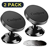 [ 2 Pack ] phone magnet car mount, [ Super Strong Magnets ] [ with 4 Metal Plate ] phone holder for car, [ 360° Rotation ] Universal Magnetic mount For iPhone XS Max XR X 8 7 Plus, Samsung S10 Plus s9