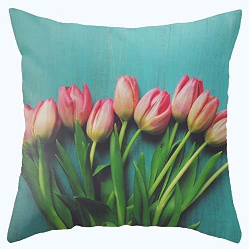 L&J.ART® High Quality 45cmx45cm 18''x18'' Super Soft Cotton Velvet Cyan Tulip Flower Pillow Case Cushion Cover
