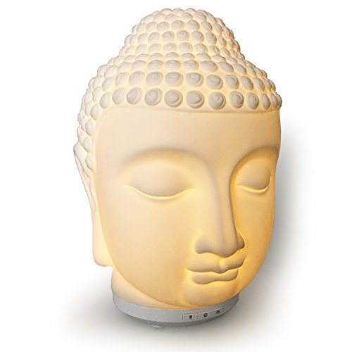 Buddha Essential Oil Diffuser/Ultrasonic Zen Cool Mister for Aromatherapy. Warm Glow Light and Electric Safety Auto Shut-off (Min 8hrs)
