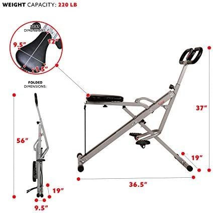 Sunny Health & Fitness Squat Assist Row-N-Ride Trainer for Squat Exercise and Glutes Workout 7