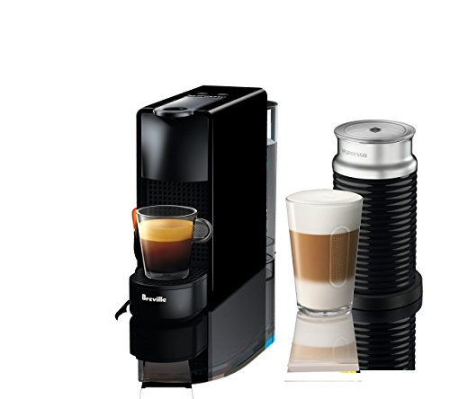 Nespresso Essenza Mini Original Espresso Machine Bundle with Aeroccino Milk Frother by Breville, Piano Black (Renewed)