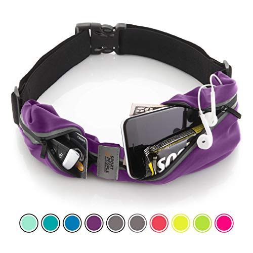sport2people Running Belt USA Patented - Hands-Free Workout Fanny Pack - iPhone X 6 7 8 Plus Buddy Pouch for Runners - Freerunning Reflective Waist Pack Phone Holder - Fitness Gear Accessories