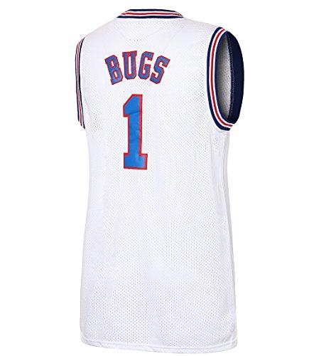 JOLI SPORT Bugs 1 Space Men's Movie Jersey Basketball Jersey S-XXXL White (L)