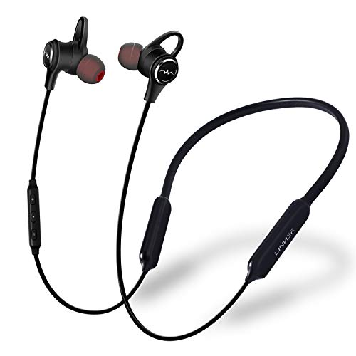 LINNER Active Noise Cancelling Headphones Earbuds, Wireless Bluetooth Earbuds Extra Bass, Noise Cancelling Earphones with Microphone and Remote (13 Hours Playtime, Premium Aluminum Matte Black)