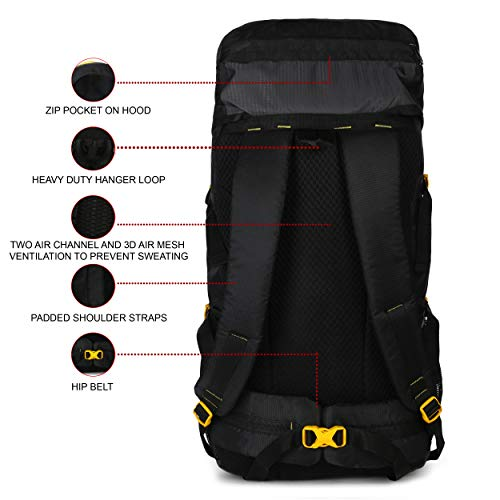 41wZT4eQPYL - Impulse Waterproof Travelling Trekking Hiking Camping Bag Backpack Series Mt. Calling 68.6 cms Yellow Rucksack