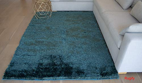 Solid Plain Dark Green Deep Green Pale Teal Dark Teal Two Tone Color Shag Shaggy Fluffy Fuzzy Furry Flokati Modern Contemporary Bedroom Living Room Medium Pile 5'x7' Area Rug Carpet (Aroma Teal)