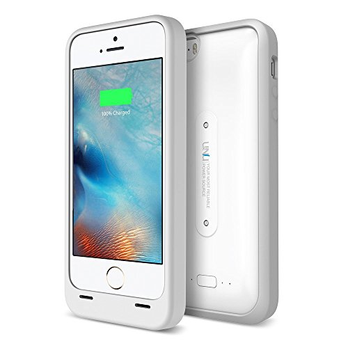 UNU iPhone 5S Battery Case, AERO Wireless Charging Case Compatible with iPhone 5S [White/Grey] 1 YR Warranty -2000mAh Portable Charger, External Battery Case with Charging Pad [MFI Apple Certified]