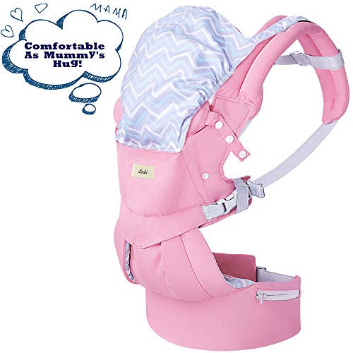 Labi Premium Cotton Baby Carrier with Adjustable Bucket Seat, Ergonomic All Position Baby Backpack with Tuckaway Hood, One of The Most Comfortable Baby Carrier Wrap for Infant & Toddler, Pink