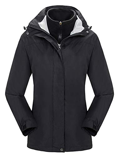 YXP Women's Waterproof Ski Jacket Double Layer Fleece Jacket(Black,M)