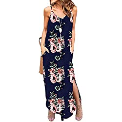 Kyerivs Women's Summer Dress Casual Loose Beach Cover Up Long Plain Print Cami Maxi Dresses with Pocket
