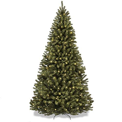 Best Choice Products SKY2888 7.5ft Pre-Lit Spruce Hinged Artificial Christmas Tree w/ 550 UL-Certified LED Lights, Foldable Stand-Green, Medium