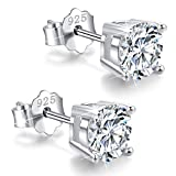 White Gold Plated Sterling Silver Cubic Zirconia Stud Earrings 3mm-8mm Options, Simulated Diamond CZ Studs Hypoallergenic Jewelry (8mm)