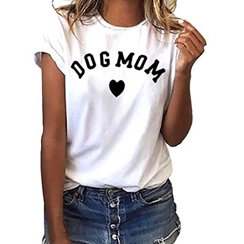 TWGONE Dog Mom Shirts for Women Plus Size Loose Short Sleeve Print T-Shirt Casual O-Neck Top(Small,White-k)