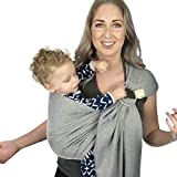 Baby Wrap Carrier All-in-1 Stretchy Baby Wraps - Baby Sling - Infant Carrier - Babys Wrap - Hands Free Babies Carrier Wraps - Baby Shower Gift (Ring Sling (Classic Gray))