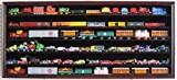 HO, N Scale Trains, Hot Wheels, Toy Cars, Minifigures Display Case Rack Wall Cabinet Wall Shadow Box w/ UV Protection- Lockable (Mahogany Finish)