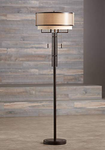 Alamo Modern Floor Lamp Industrial Bronze Sheer Brown Organza and Linen Double Drum Shade for Living Room Reading - Franklin Iron Works