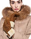 YISEVEN Women's Merino Rugged Sheepskin Shearling Leather Gloves with Turn-up Fur Cuff and Decoration Button Soft for Winter Warm Dress Driving and Fashion Stylish Gift, Camel 6.5'/Small