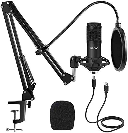 Studio USB Condenser Microphone, ikedon Professional 192kHz/24bit Cardioid Recording Microphone, Plug&Play Computer Microphone Kit with Scissor Arm, Streaming Mic for Podcasting YouTube Gaming -S663
