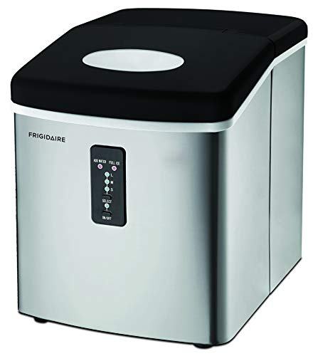 Frigidaire EFIC103 ice Maker Machine Icemaker, 26 lbs per Day, Large Stainless Steel