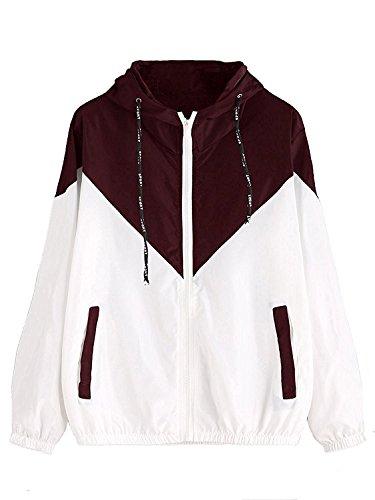 Milumia Women's Color Block Drawstring Hooded Zip Up Sports Jacket Windproof Windbreaker (S/US 2, Burgundy)