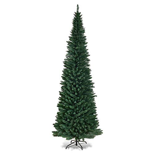Goplus 9FT PVC Artificial Pencil Christmas Tree Slim Tree w/Metal Stand for Indoor and Outdoor, Green